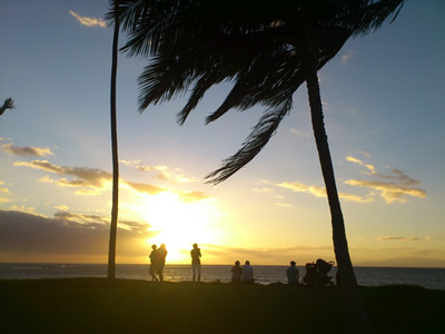 キヘイのビーチパークからの夕日