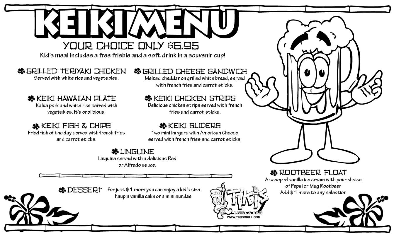 Tiki's Grill and Bar's のKeiki Menu