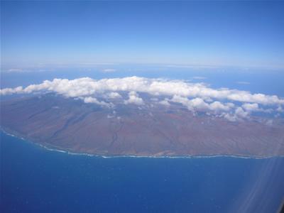 機内から見るラナイ島