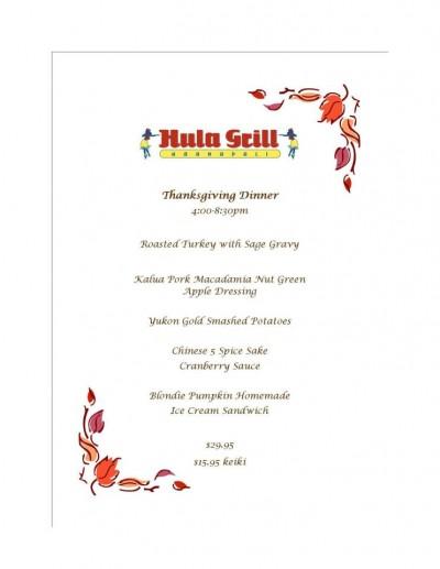 Thanksgiving Dinner @ Hula Grill