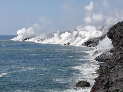 Ocean entry and coastal plain surface flows remain active, Photo courtesy: USGS