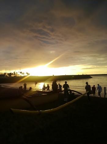 ハレイワビーチのサンセット