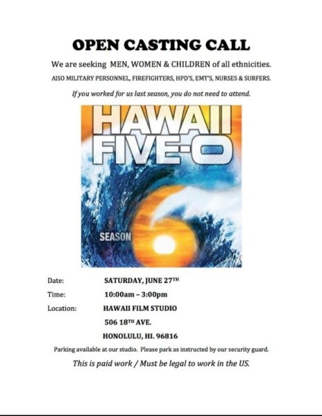 Hawaii Five-O Open Casting Call
