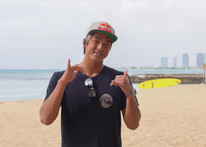 ハワイ州観光局親善大使に就任した五十嵐カノア選手